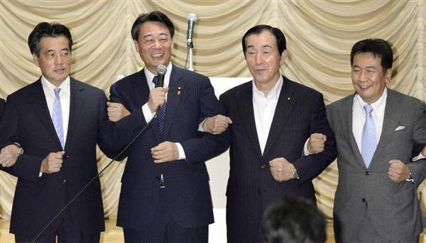 9月16日の両院議員総会で正式決定した民主党新執... 民主党新執行部。左から岡田克也代表代行、