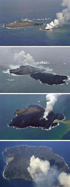 拡大する小笠原諸島の無人島、西之島。上から2013年11月21日、12月26日、2014年2月3日(海上保安庁提供)、11月15日撮影
