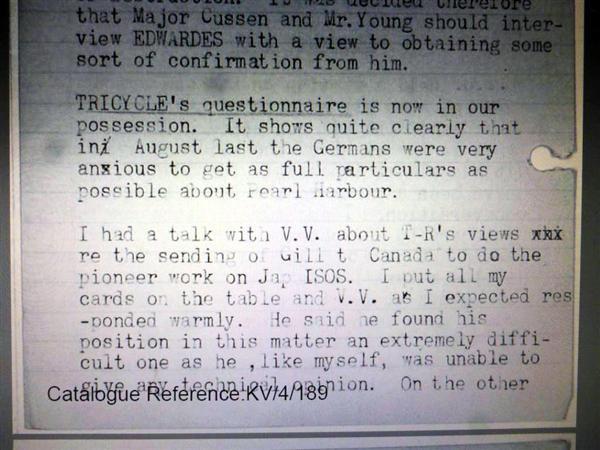 ガイ・リッデルMI5副長官の1941年12月17日付日記に、「『トライシクルの質問状』をわれわれ(MI5)は今所有している」と記されていた(英国立公文書館所蔵)