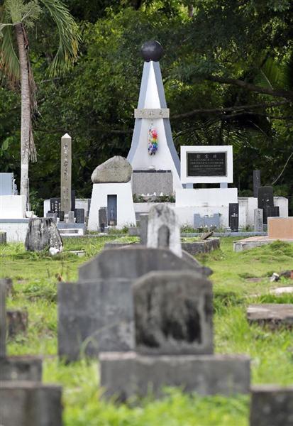 ペリリュー島にある戦没者慰霊碑「みたま」=12月10日、パラオ共和国・ペリリュー島(松本健吾撮影)
