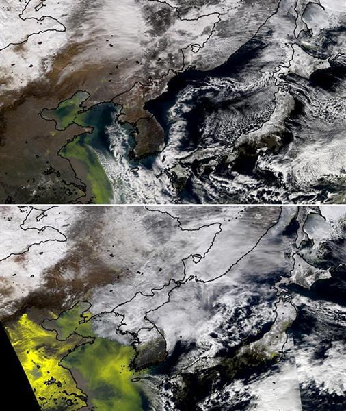 春雪を祝う爆竹などの影響か?中国・華北平原から渤海・黄海にかけて高濃度の粒子状大気汚染物資が滞留が人工衛星「MODIS」から観測された。上は7日、下は8日の衛星写真 (東北大の工藤純一教授提供)
