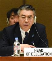 ジュネーブで開かれた国連の女性差別撤廃委員会の対日審査会合で、日本の立場を説明する杉山晋輔外務審議官=16日(共同)