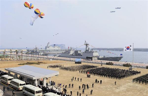韓国南部済州島に完成した海軍基地で開かれた完工式典=2月26日(聯合=共同)