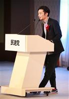 【民進党結党大会】結党大会で登壇してあいさつした「SEALDs」の奥田愛基=27日午後、東京都港区高輪の品川プリンスホテル(鈴木健児撮影)