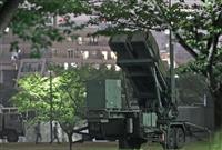 東京・市谷の防衛省敷地内に展開されたPAC3=30日夜