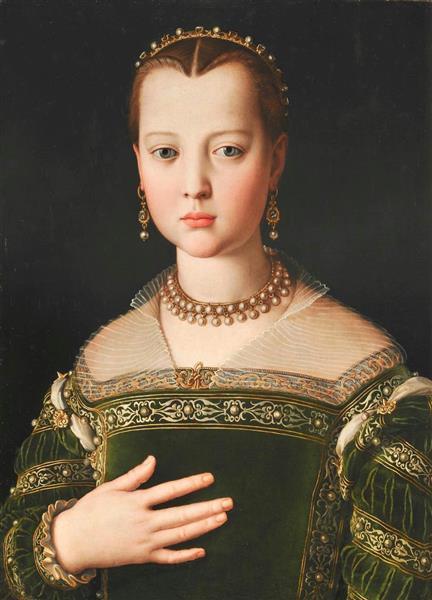 ブロンズィーノ「マリア・ディ・コジモ1世・デ・メディチの肖像」1550~51年 フィレンツェ ウフィツィ美術館(彫刻絵画美術館)蔵 (c)A.Quattrone