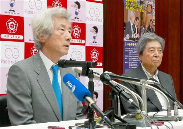 記者会見で小池百合子氏にエールを送った小泉元首相(左)と細川元首相=5日午後、東京都品川区