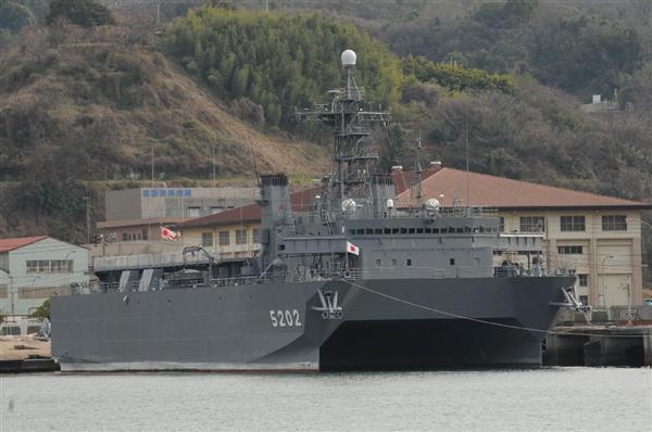 外国潜水艦の音紋を収集する「ひびき」型音響測定艦の2番艦「はりま」(海上自衛隊提供)