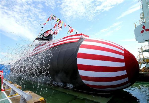 三菱重工神戸造船所で進水式が行われた海上自衛隊潜水艦「せいりゅう」=12日午前、神戸市兵庫区(彦野公太朗撮影)
