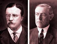 対日戦を想定した「オレンジ計画」を作ったセオドア・ルーズベルト大統領(左)と人種差別撤廃条項を葬り去ったウッドロー・ウィルソン大統領