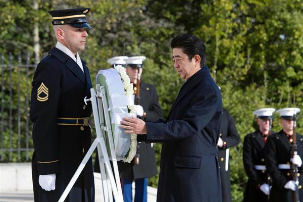 日米首脳会談】安倍晋三首相がアーリントン国立墓地で献花 - 産経ニュース