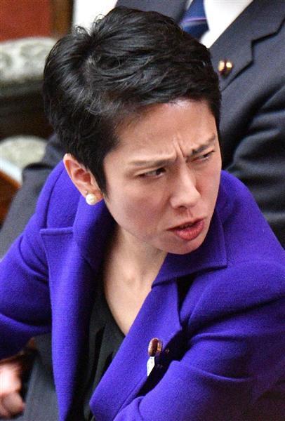 ついに離党者を出し、求心力低下に歯止めがかからない民進党の蓮舫代表=4月12日、参院本会議場(斎藤良雄撮影)