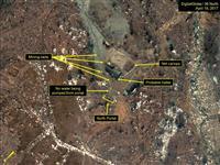 19日撮影された北朝鮮・豊渓里にある核実験場の衛星写真(デジタルグローブ/38ノース提供・ゲッティ=共同)