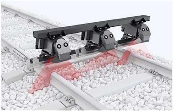 点検用車両の下部に取り付けられた軌道全体を撮影するカメラのイメージ(JR西日本提供)
