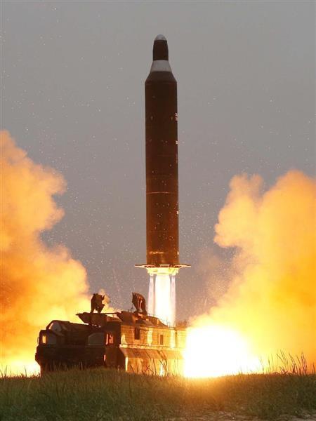 헤세이 28년 6월, 무스단으로 보여지는 탄도 미사일 발사 실험의 님 아이(조선 중앙 통신=공동)