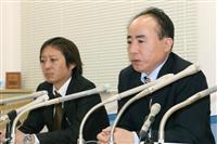 中国当局に男性社員が拘束されたことについて記者会見する日本地下探査の佐々木吾郎社長(右)=22日午後、千葉県船橋市