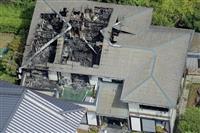 火災で女性3人が死亡した千葉県旭市の住宅=5日午前9時39分(共同通信社ヘリから)