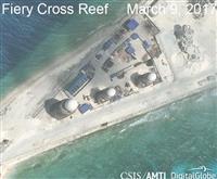 スプラトリー諸島の人工島、ファイアリークロス礁の衛星写真(CSISアジア海洋透明性イニシアチブ・デジタルグローブ提供・ロイター)