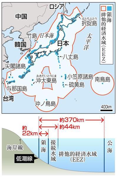 「排他的経済水域(EEZ)」 国連海洋法条約で認められた領海の基線から200カイリ(約370キロ)までの海域で、天然資源の探査・開発、海洋の科学的調査などについて権利がある。ただ、東シナ海や日本海では日本と周辺国の最短距離が400カイリ未満のため、中間線の日本側をEEZとしている。