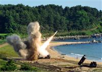5日、韓国で実施された米韓合同ミサイル演習(米軍提供=ロイター)
