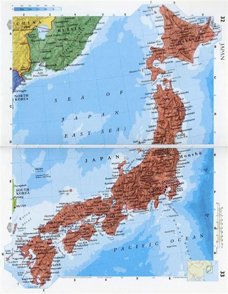 日本海(SEA OF JAPAN)と東海(EAST SEA)が併記された英フィリップス社の世界地図