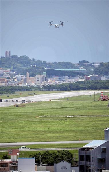 普天間基地を離陸する米海兵隊のV-22 オスプレイ=6月27日、沖縄県宜野湾市(早坂洋祐撮影)