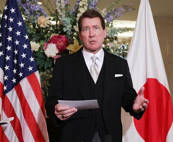 記者会見するハガティ駐日米大使=31日午前11時32分、東京都千代田区(代表撮影)