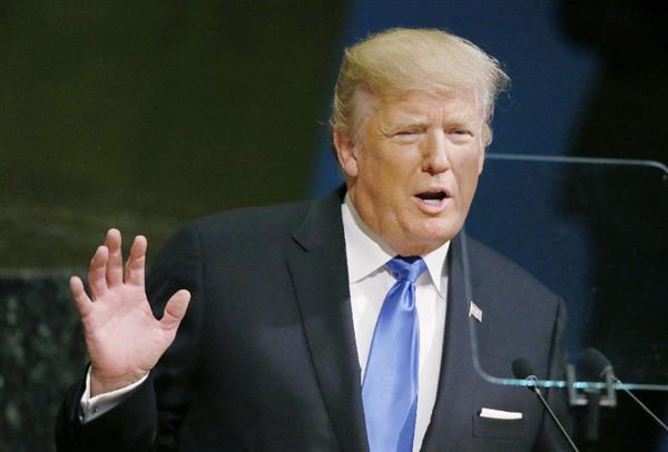 国連総会の一般討論で演説するトランプ米大統領=19日、ニューヨークの国連本部(ロイター)