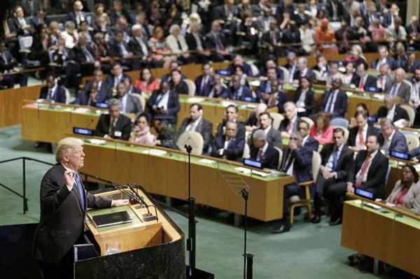 ニューヨークの国連本部で開かれた、総会の一般討論で演説するトランプ米大統領=19日(共同)