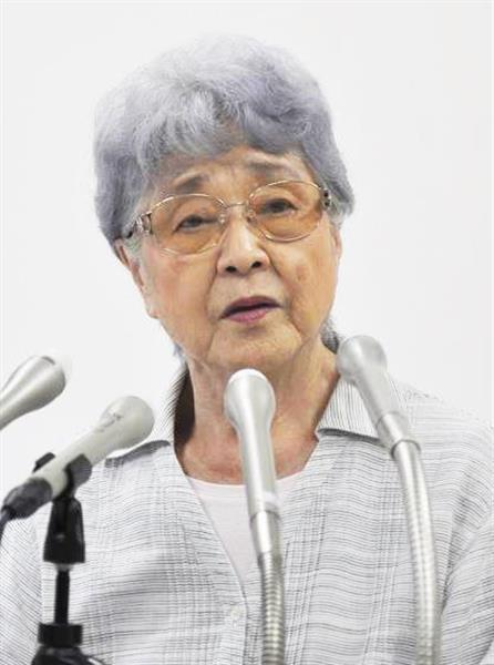 米国のトランプ大統領が国連での演説で北朝鮮による横田めぐみさん拉致を非難したことを受け記者会見する母、早紀江さん=20日午前、川崎市内