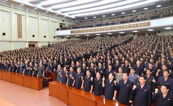 22日、平壌の朝鮮労働党中央委員会会議室で行われた「反米対決戦総決起集会」(朝鮮中央通信=朝鮮通信)
