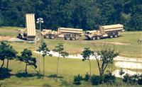 7日、韓国南部、星州の配備予定地に搬入されたTHAADのミサイル発射台。中韓メディアの中傷合戦のきっかけになった(聯合=共同)