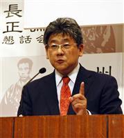 安倍晋三首相に対する偏向報道の実態を語る小川栄太郎氏=山口県下関市