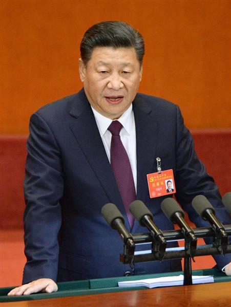第19回中国共産党大会で活動報告をする習近平総書記=10月18日、北京の人民大会堂(共同)