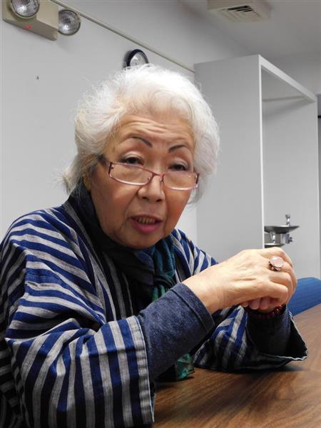 インタビューに答える在米日本人の藤本聖香さん。加州日本人慈恵会事務局長を務めており、一貫して設置に反対してきた=22日、米カリフォルニア州サンフランシスコ市