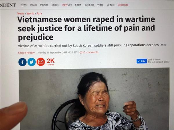 ベトナム戦争時に韓国兵から受けた暴行や性的虐待の被害者たちの声を赤裸々に報じた英紙インディペンデント(電子版9月11日付)