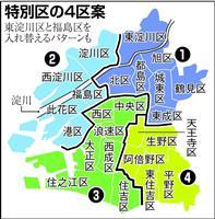 大阪都構想区「4区」の公算、維新が区割案絞り込み