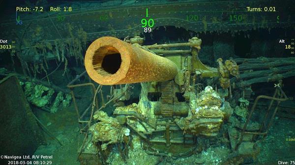 オーストラリア沖で見つかった米空母「レキシントン」の大砲(ポール・アレン氏提供、共同)