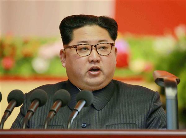 演説する金正恩朝鮮労働党委員長(コリアメディア提供・共同)