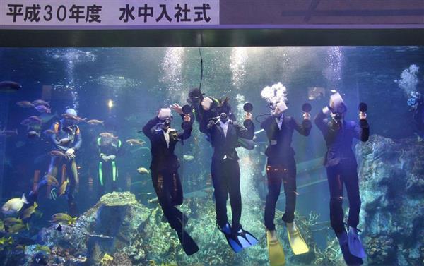 鳥羽水族館の「水中入社式」で、初仕事として水槽の中からガラスを磨く新入社員たち=31日午後、三重県鳥羽市