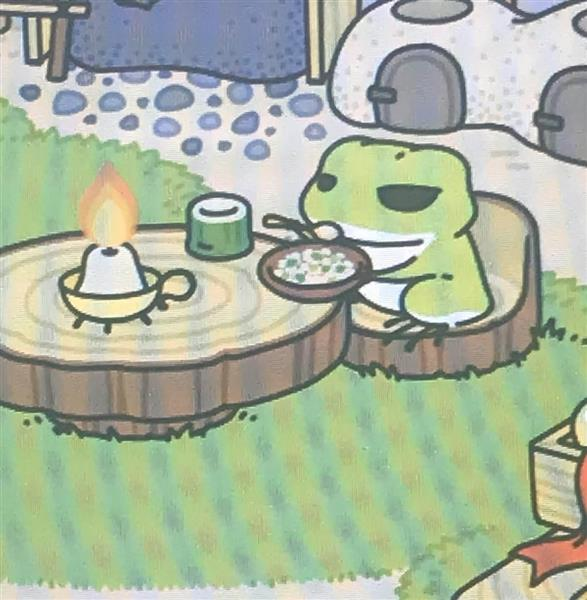 日本製スマホ用ゲーム「旅かえる」の画面(河崎真澄撮影)