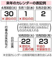 天皇陛下の譲位・即位日の日付は黒、行事名は朱 来年のカレンダー表記