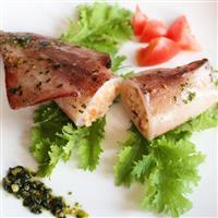 【料理と酒】イカ飯風ヤリイカのリゾット バジルソースで