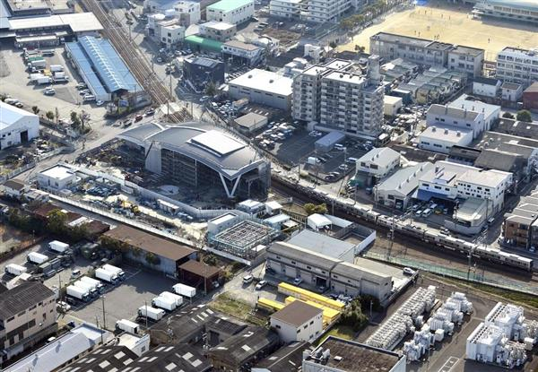 JR福知山線脱線事故の現場付近。保存・整備が進んでいる=平成30年3月、兵庫県尼崎市(本社ヘリから)