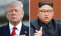 アメリカのトランプ大統領(ゲッティ=共同)、北朝鮮の金正恩朝鮮労働党委員長(朝鮮通信=共同)