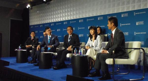 米ロサンゼルスで開かれている国際経済会議「ミルケン・グローバル・コンファレンス」で1日に行われた日本に関するセッション