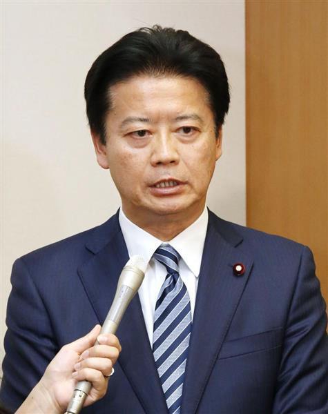 4月26日、民進党からの離党を表明する玄葉光一郎元外相=国会