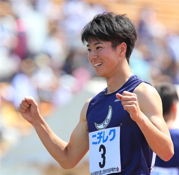 関西学生対校選手権の男子100メートルで4連覇を達成し、ガッツポーズをする多田修平選手=11日、京都市右京区(寺口純平撮影)