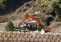 中津の山崩れから1カ月、本格復旧工事は秋以降
