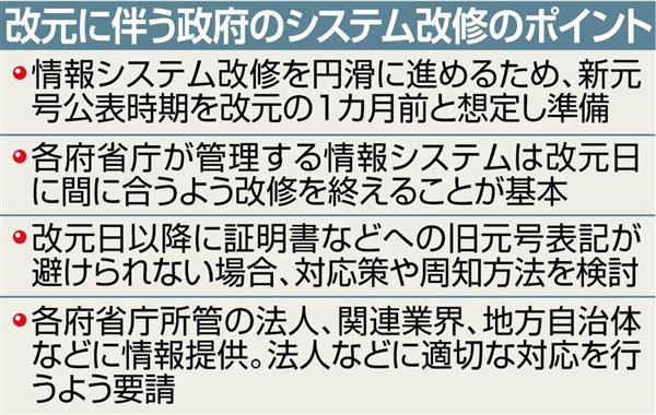 政府は17日、平成31年5月1日の新天皇即位に伴う新元号の公表時期について、改元1カ月前の4月1日と想定して準備を進める方針を決めた。